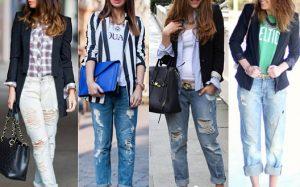 С чем носить джинсы со вставками?